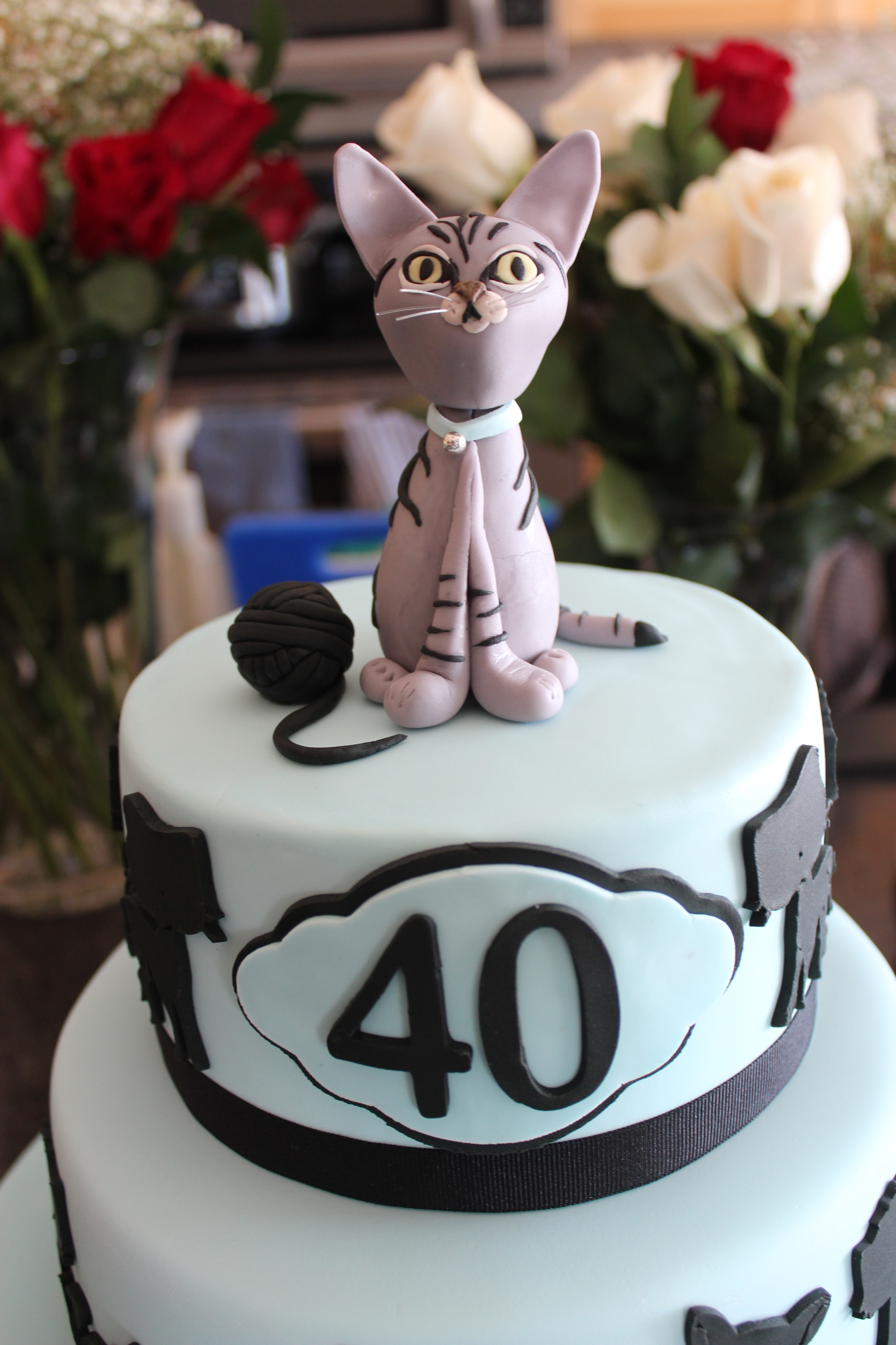 Fine 40Th Birthday Cake Client Requested That The Cake Have 40 Cats On Funny Birthday Cards Online Fluifree Goldxyz