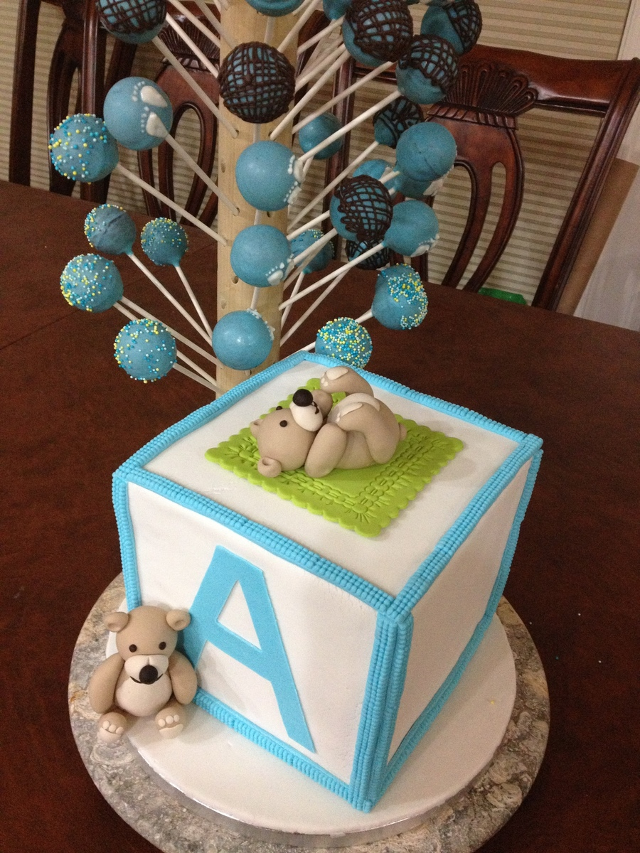 First Attempt For A Baby Shower Cake For A Friend First In Doing Square Cake Learned A Lot I Know There Is A Lot To Improve Here  on Cake Central