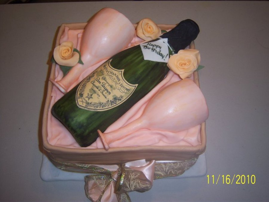 Wine Bottle With Glasses on Cake Central