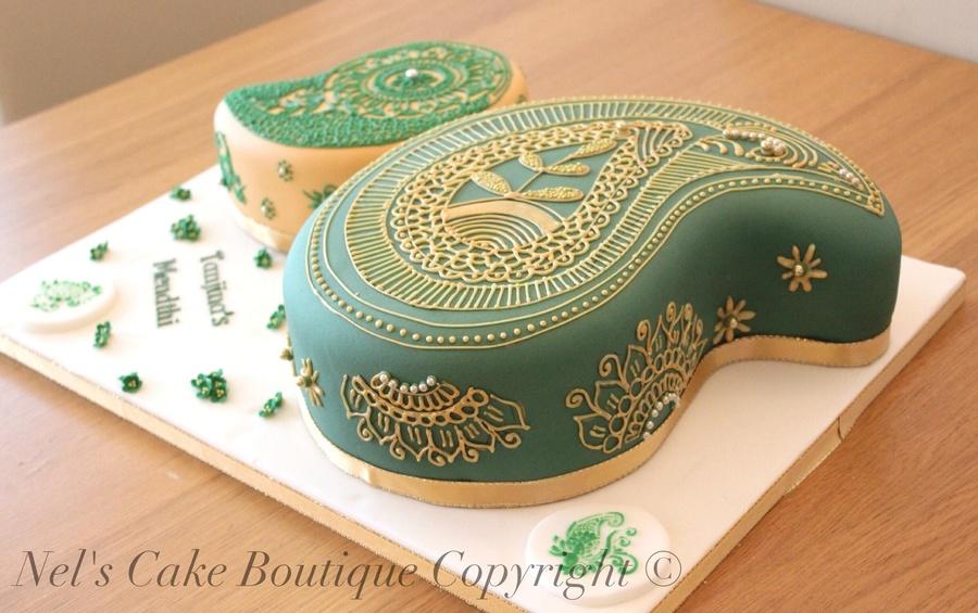 Mehndi Patterns For Cakes : Indian wedding cake henna pattern paisley design