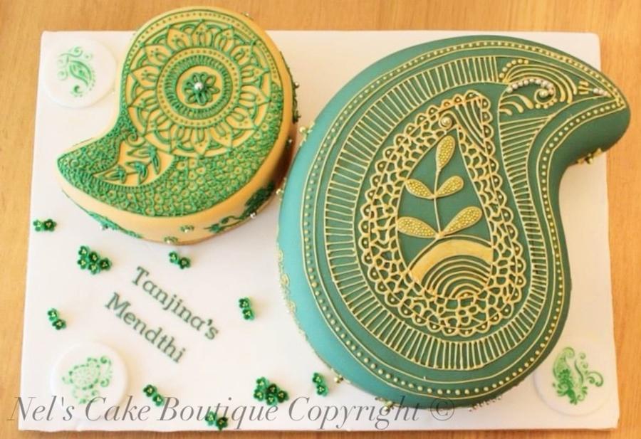 Mehndi Cake Tutorial : Indian wedding cake henna pattern paisley design