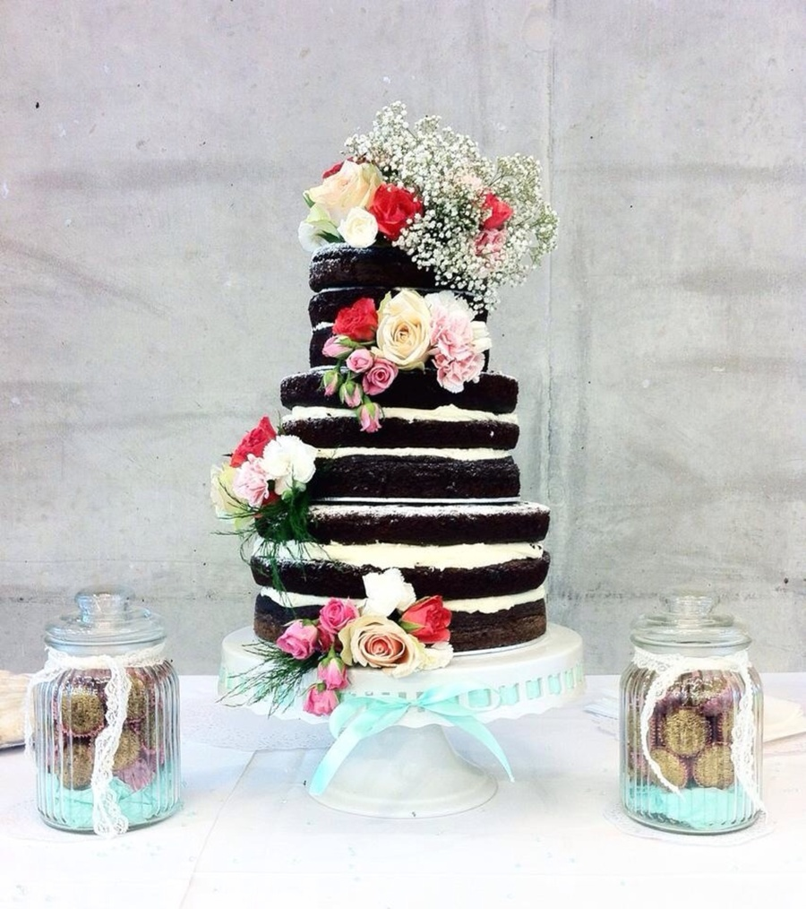 Vintage Shabby Chic Naked Chocolate Wedding Cake - CakeCentral.com