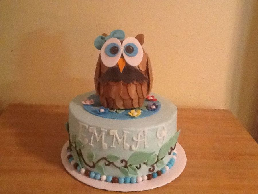 Remarkable Owl With Mustache Birthday Cake Cakecentral Com Personalised Birthday Cards Veneteletsinfo