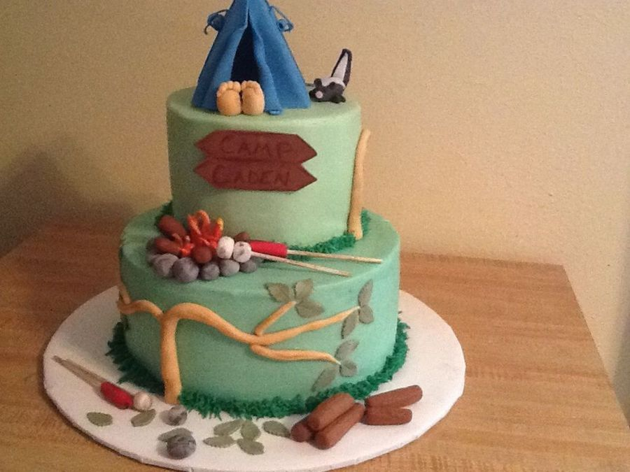 Outdoor Sleepover Boys Birthday Cake Cakecentral