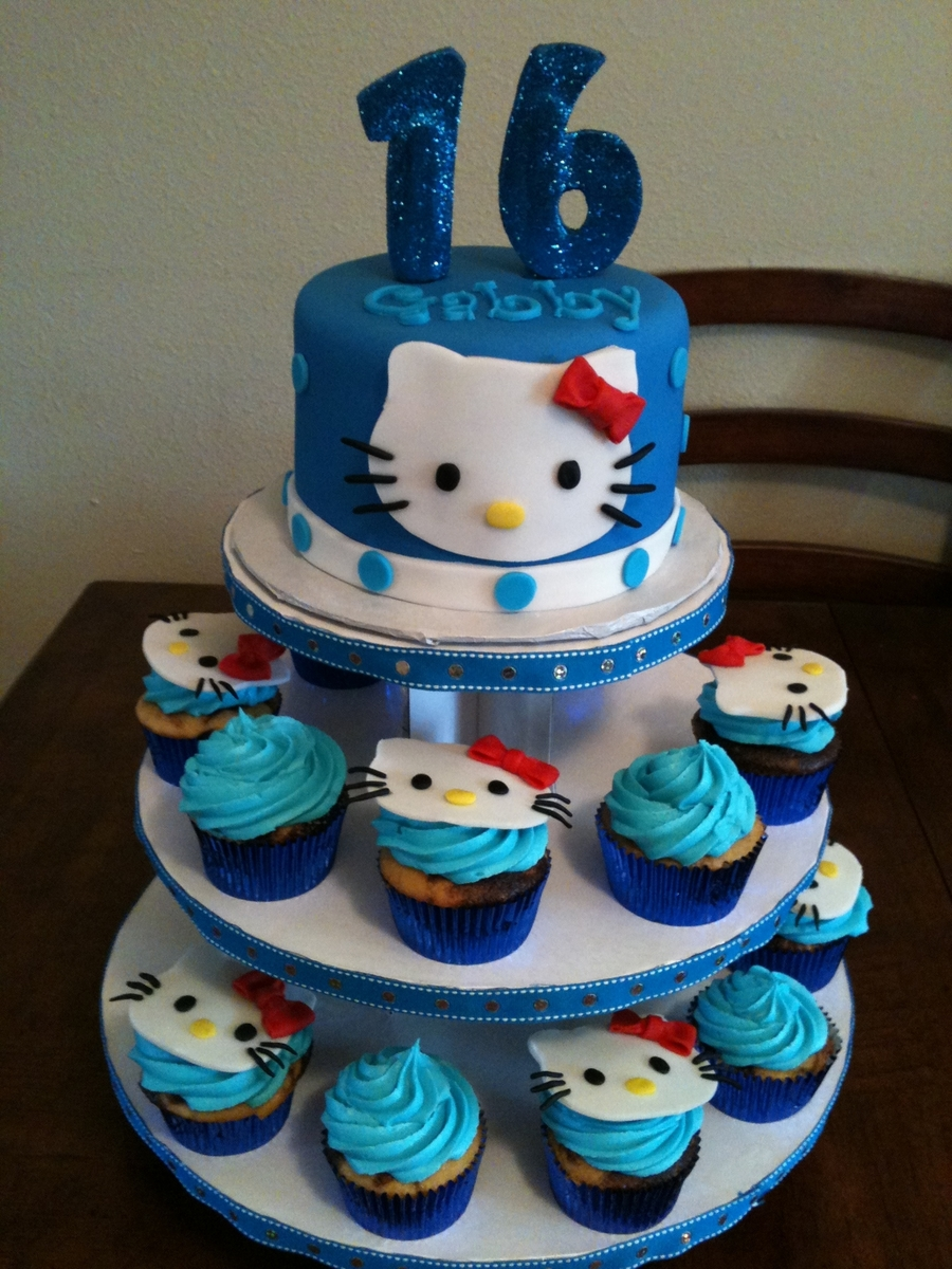Hello Kitty Cupcake Tower on Cake Central
