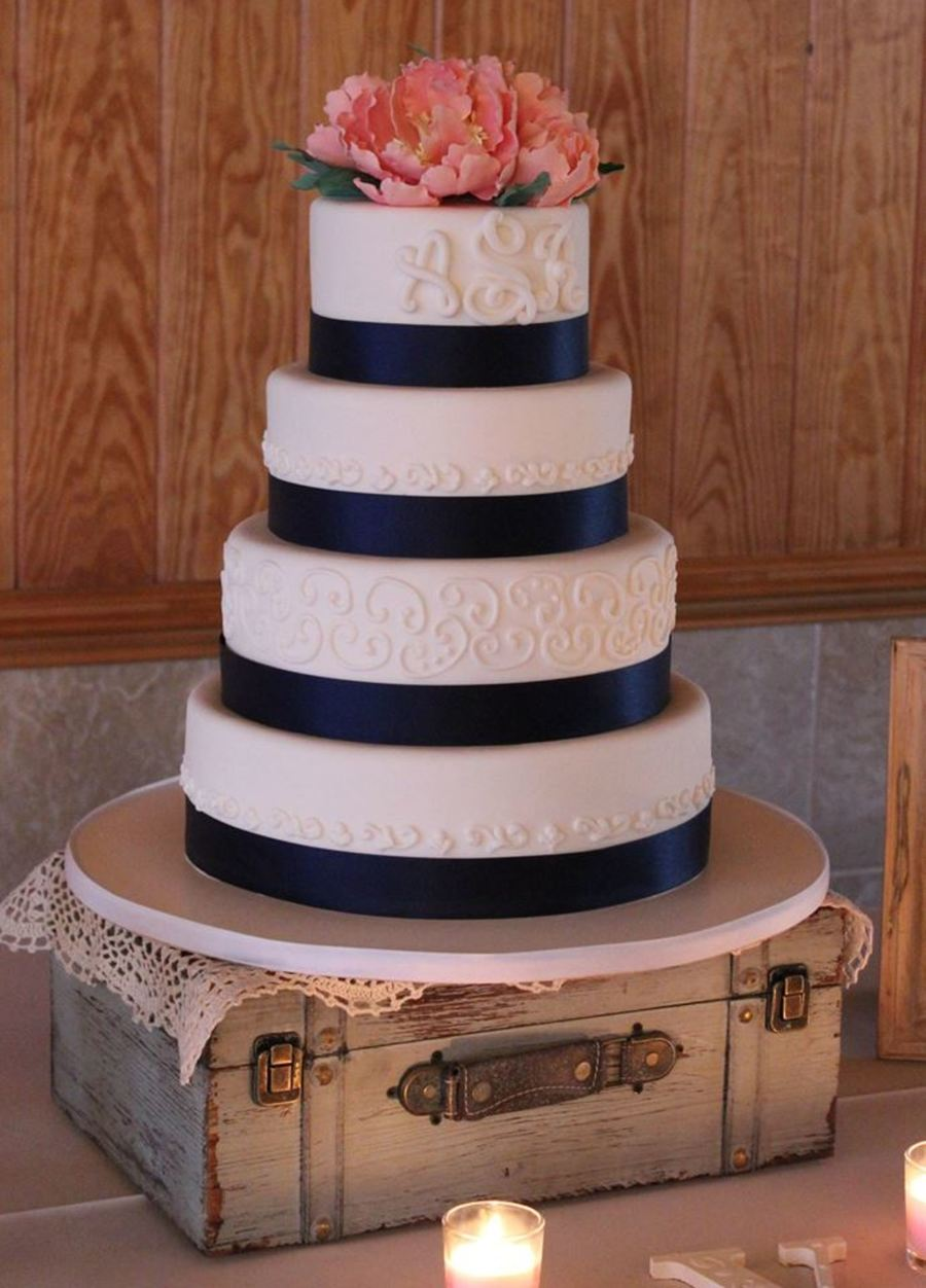 coral wedding cakes navy amp coral wedding cake cakecentral 12949
