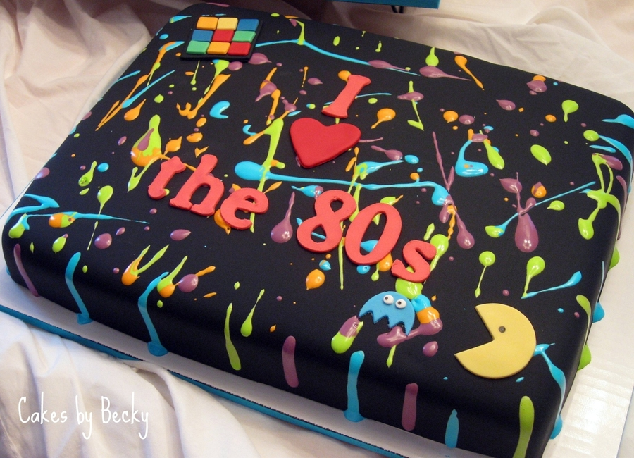 Finally Got To Attempt My Splattered 80s Cake Vanilla Buttermilk With Buttercream Covered In Black Fondant Thinned Royal Icing