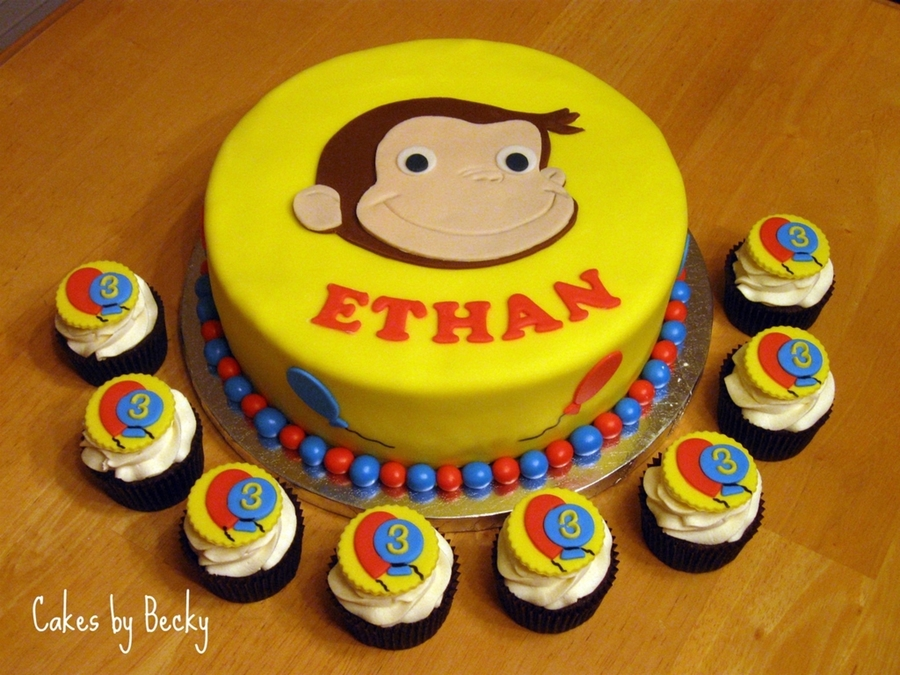 Tremendous Curious George Birthday Cake And Cupcakes Cakecentral Com Funny Birthday Cards Online Sheoxdamsfinfo