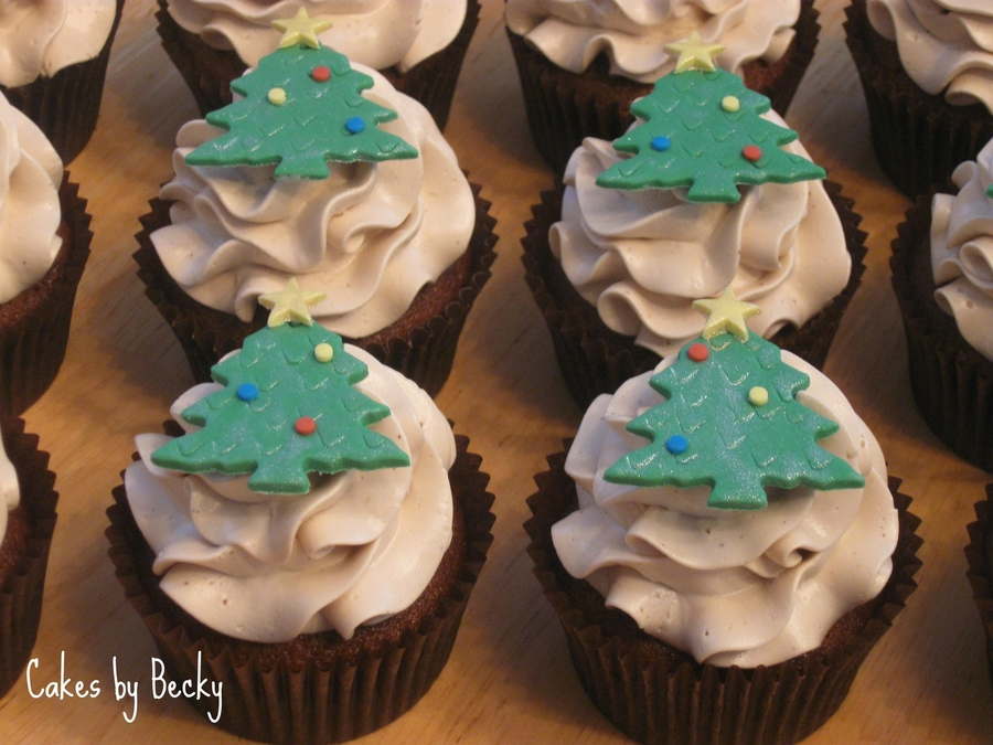 Gingerbread Cupcakes With Christmas Tree Toppers on Cake Central