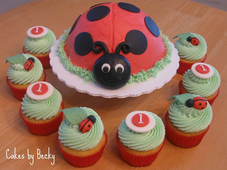 I Also Made A Vanilla Ladybug Smash Cake For The Birthday Girl With Buttercream Frosting And Fondant Details