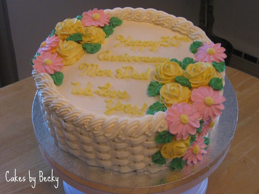 Basket Weave Anniversary With Gold Roses  on Cake Central