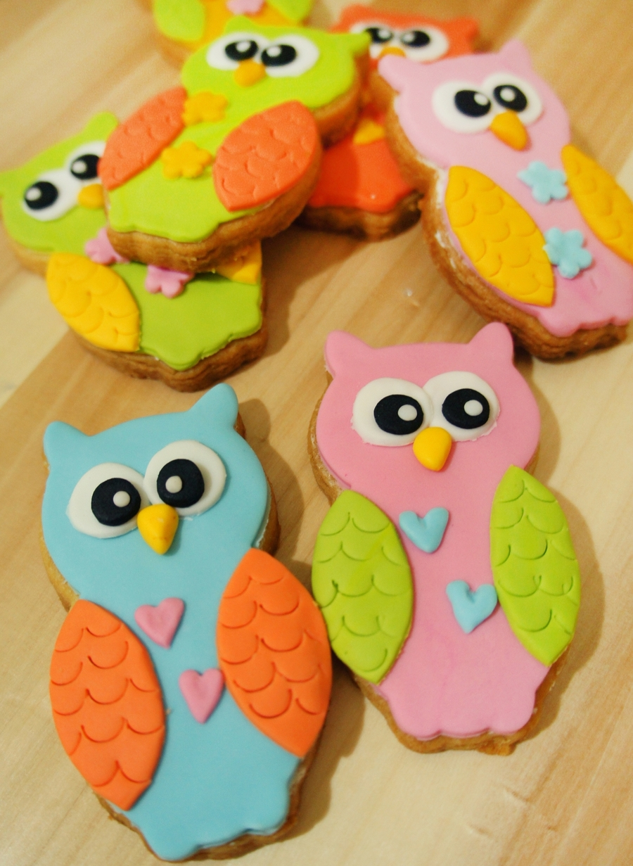 Owl Decorated Cookies Fondant Owl Cookies Cakecentralcom