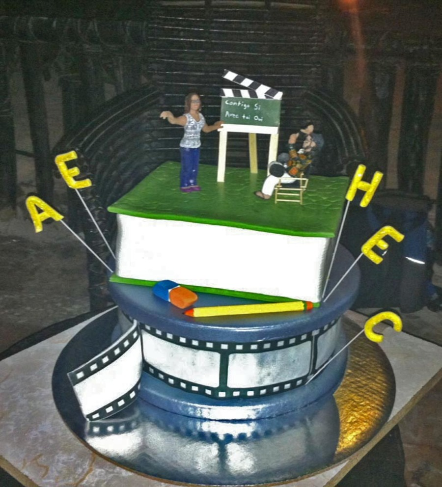 Wedding Cake For A Teacher And A Movie Director  on Cake Central