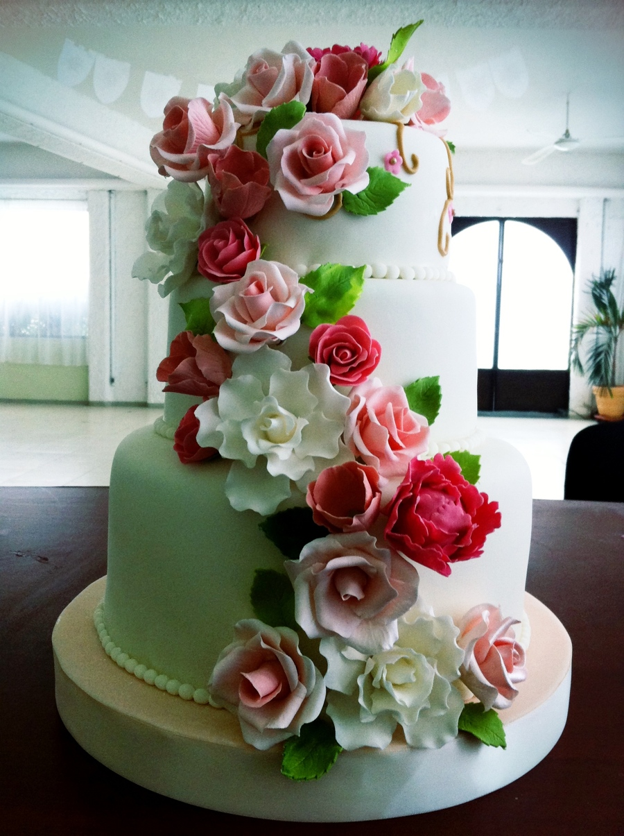 This Three Tier Cake Was Made Out Of German Chocolate Filled With Chocolate Ganache And Strawberries All The Flowers Are Hand Made Using G... on Cake Central