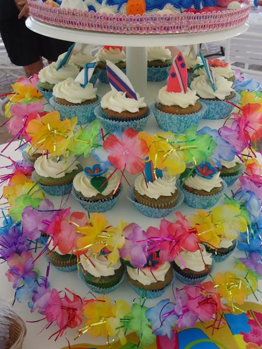 Beach Luau Under The Sea Surfing Cake And Cupcake Tower