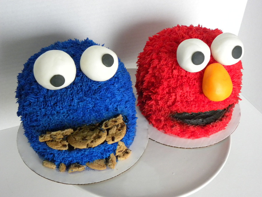 Cookie Monster And Elmo Mini Cakes on Cake Central