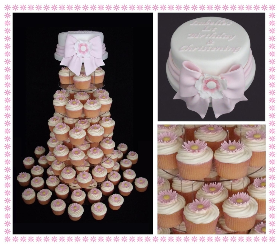 Daisy Cupcakes & Bow  on Cake Central