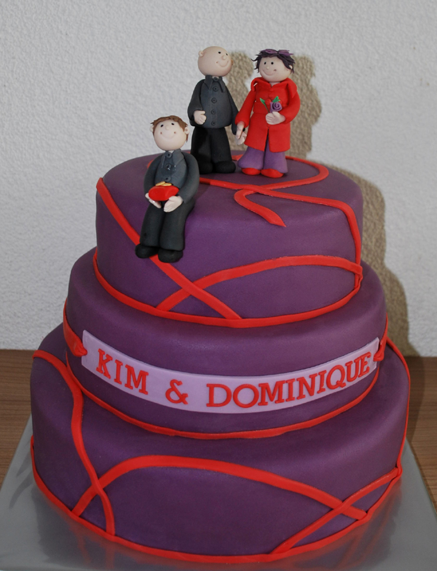 Purple & Red Wedding Cake - CakeCentral.com