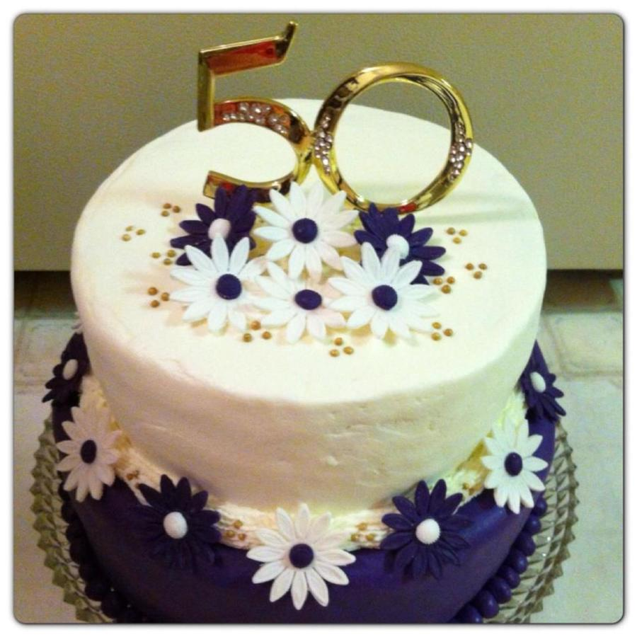 Purple fondant 50th anniversary cake - Th anniversary cake decorations ...