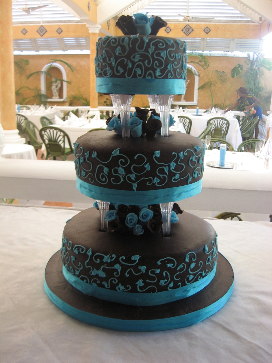 Brown & Turquoise on Cake Central