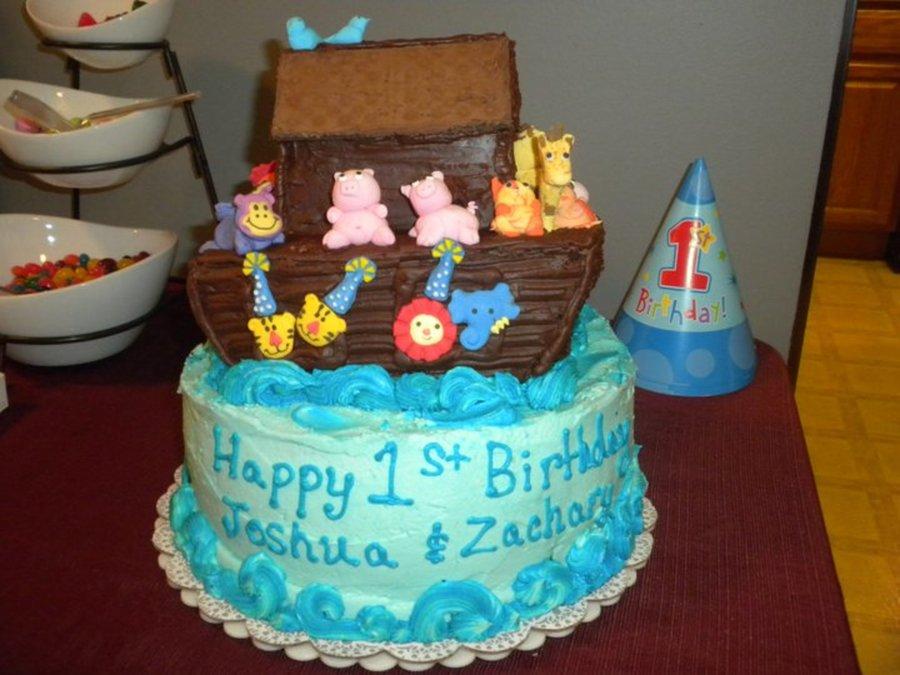 Twin Boys Noahs Ark Theme 1st Birthday Cake Cakecentral