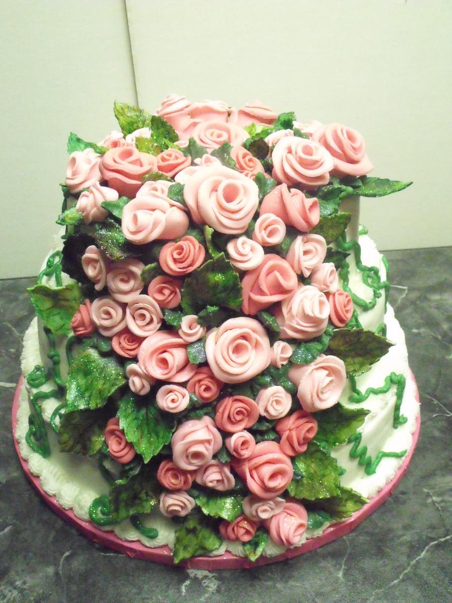 65 Fondant Rose Birthday Cake Cakecentral