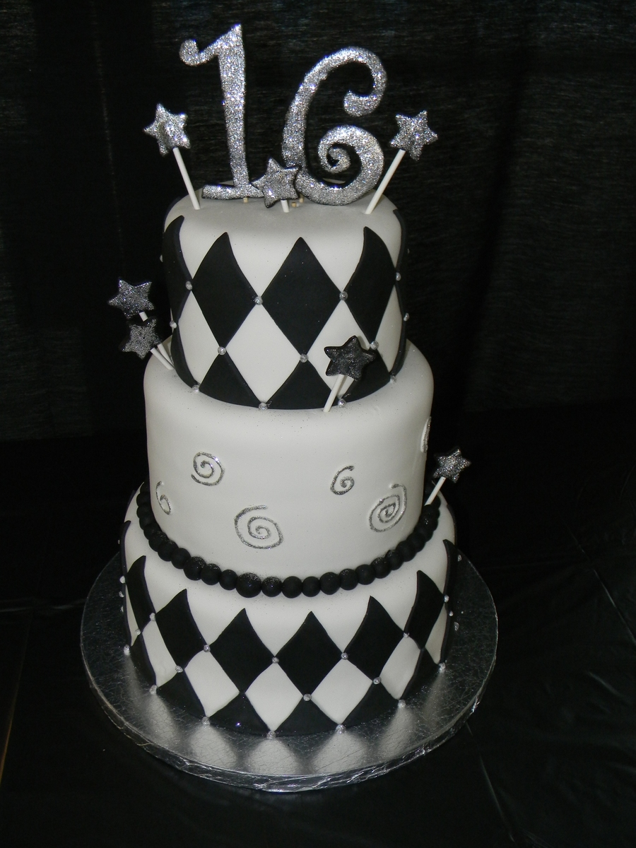 Black And White 16th Birthday Cake For Boy Cakecentral