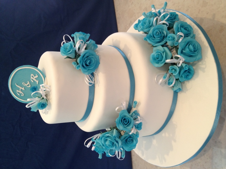 White Round Wedding Cake With Blue Flowers on Cake Central