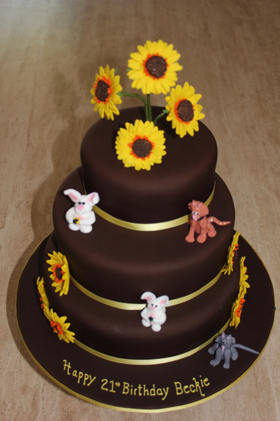 Pleasing Sunflowers Cats And Rabbits 3 Tier Chocolate Cake Cakecentral Com Personalised Birthday Cards Arneslily Jamesorg