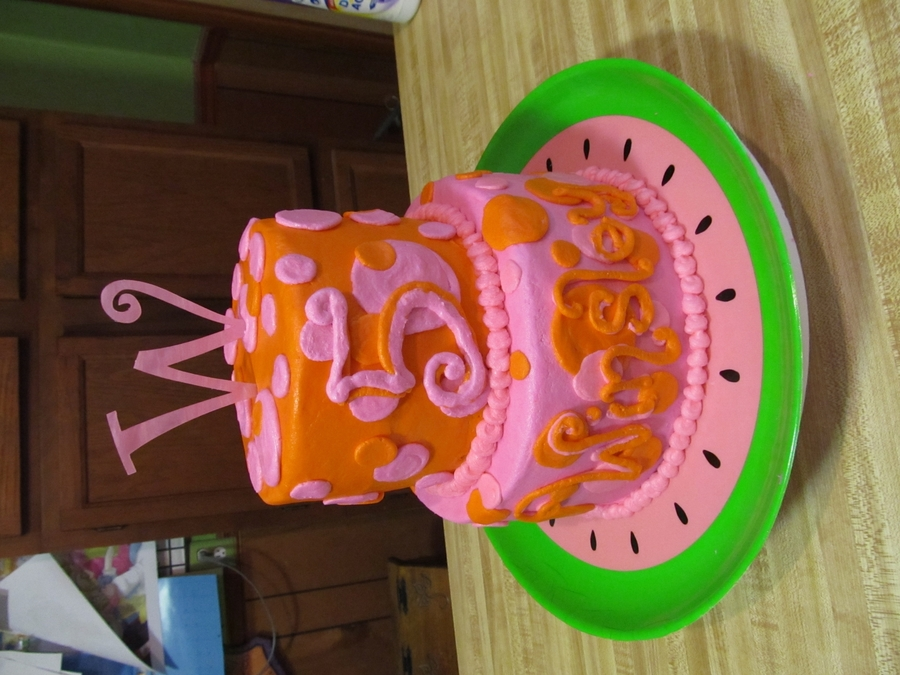 Pink And Orange  on Cake Central