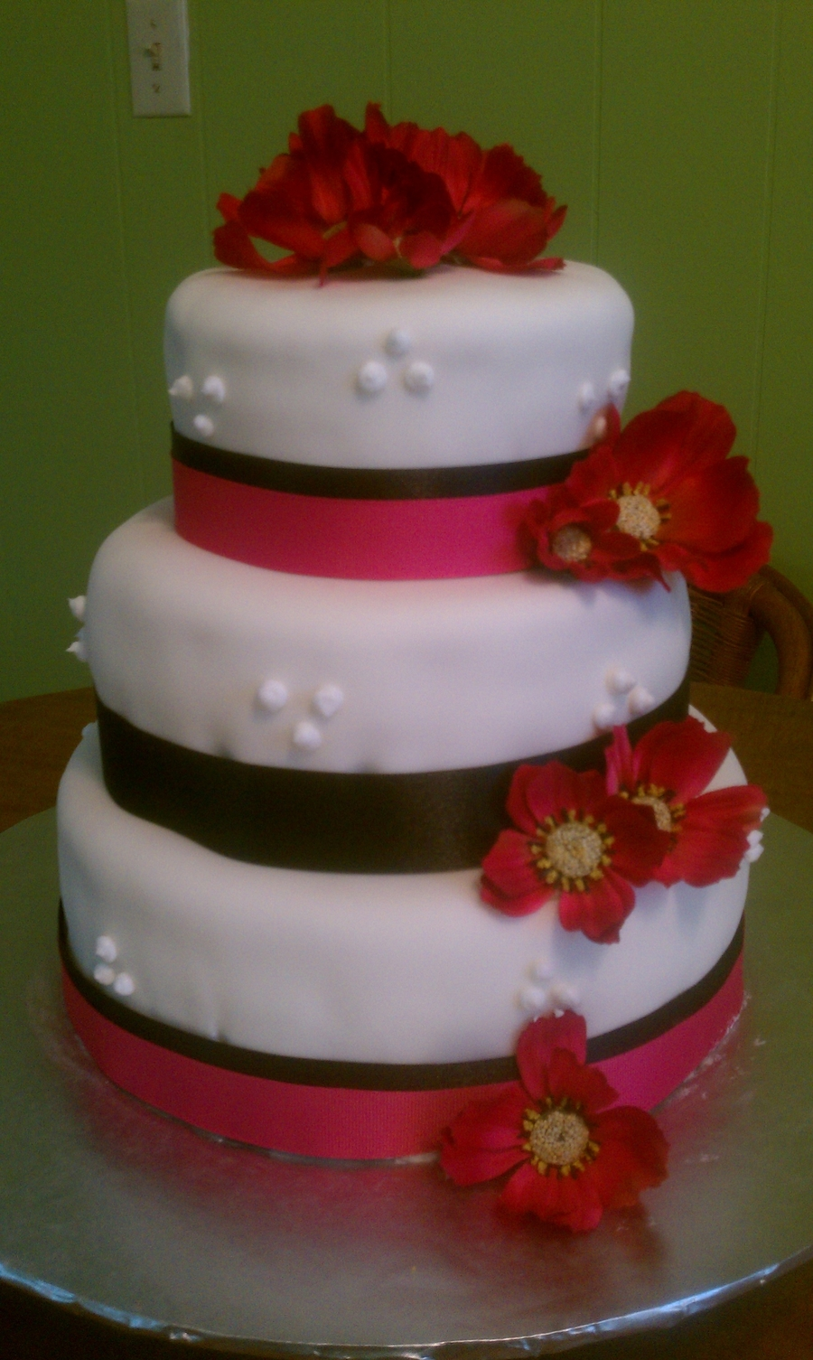 wedding cakes black white and pink pink amp black wedding cake cakecentral 23902