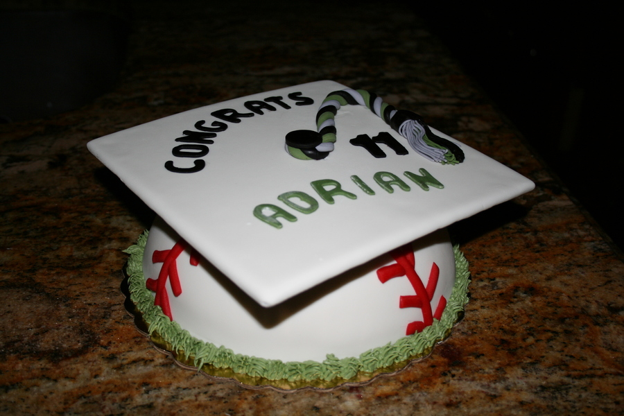 Baseball Graduation Cap on Cake Central