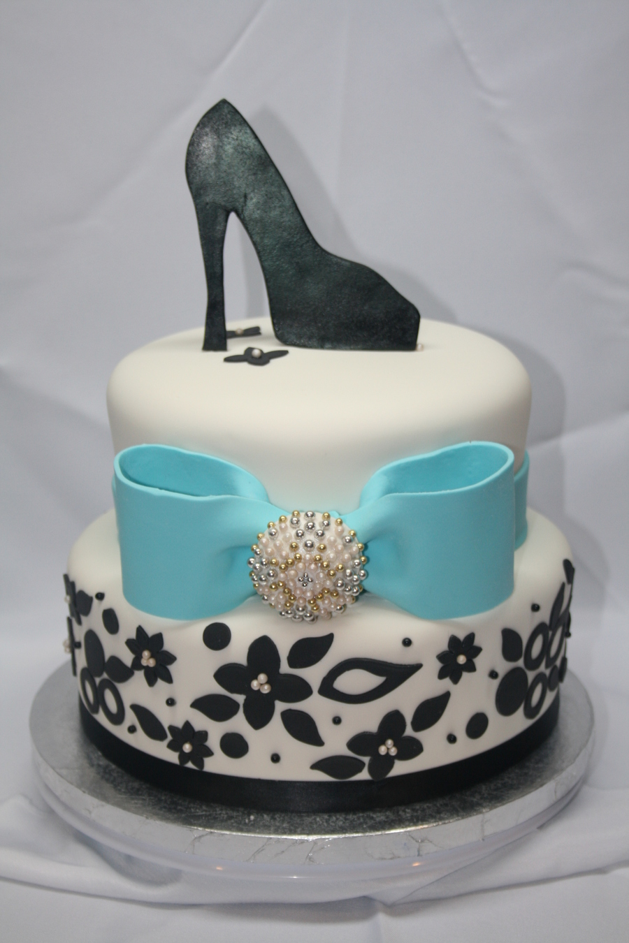 Bridal Shower Cake, Black And White With Tiffany Blue Bow on Cake Central