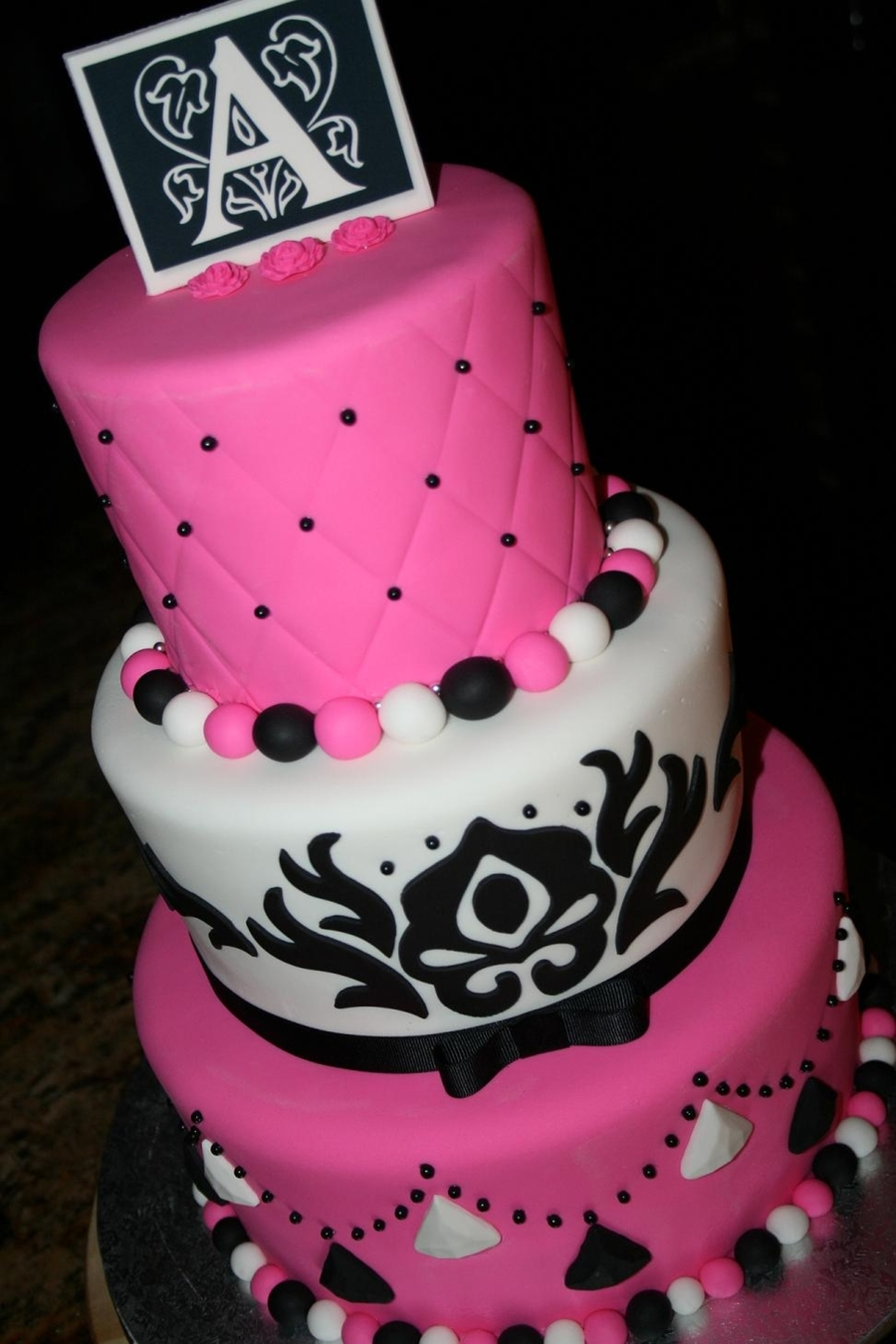 White, Black And Pink on Cake Central