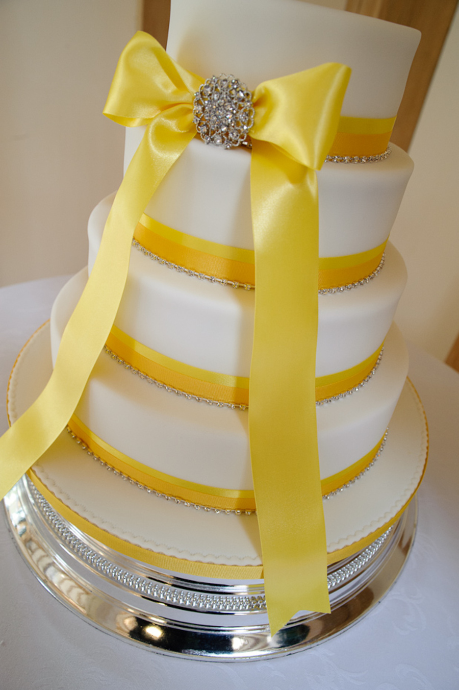 Yellow Bow And Diamante Wedding Cake On Central