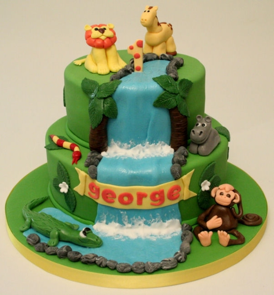 Jungle Safari First Birthday Cake