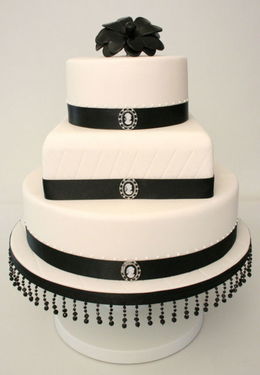Black And White Cameo Wedding Cake on Cake Central