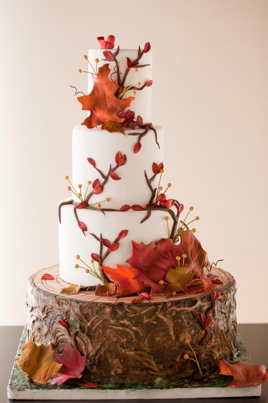 Autumn Wedding Cake CakeCentralcom - Wedding Cake Tree Bark