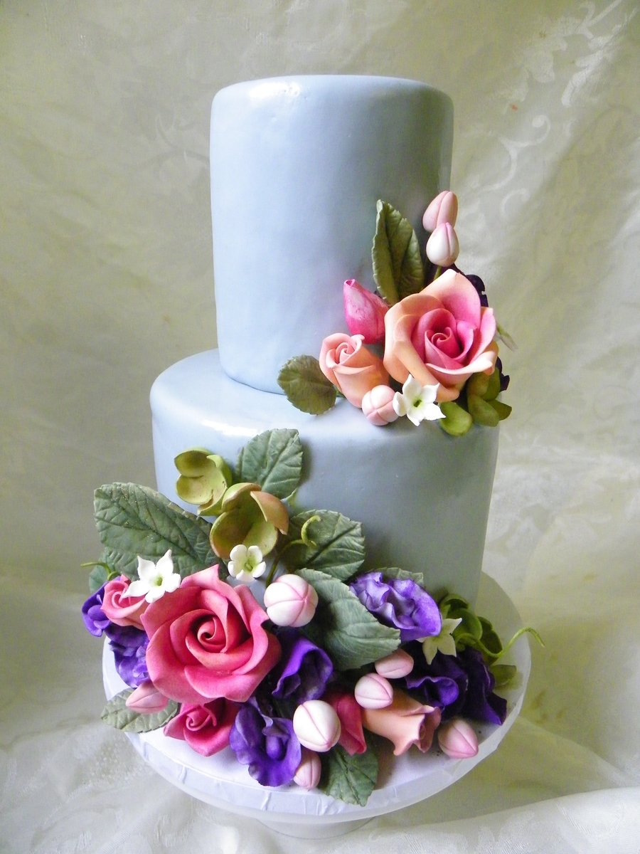 Gray Wedding Cake With Sugar Flowers on Cake Central