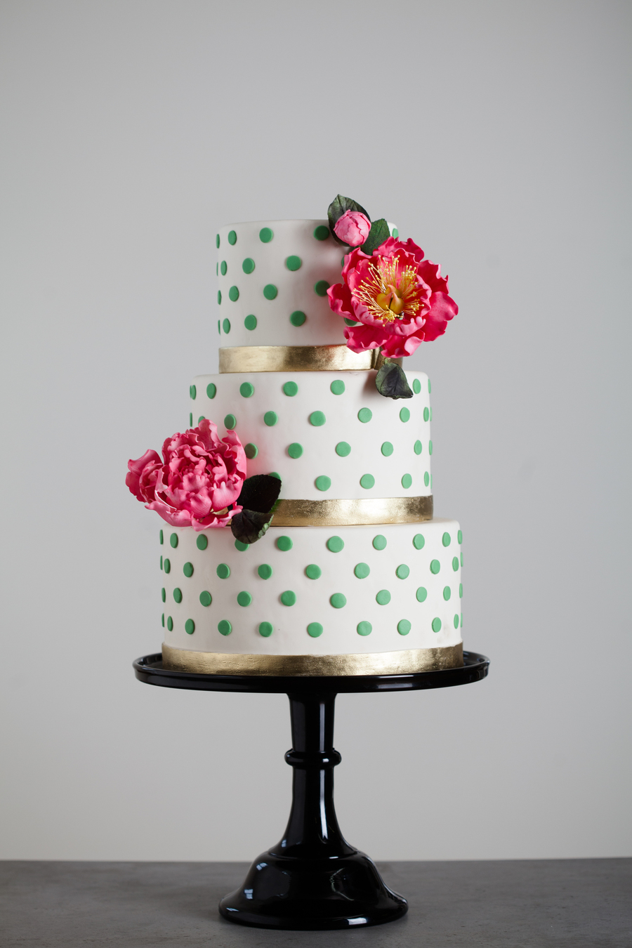 Pink Peonies And Gold Bands on Cake Central