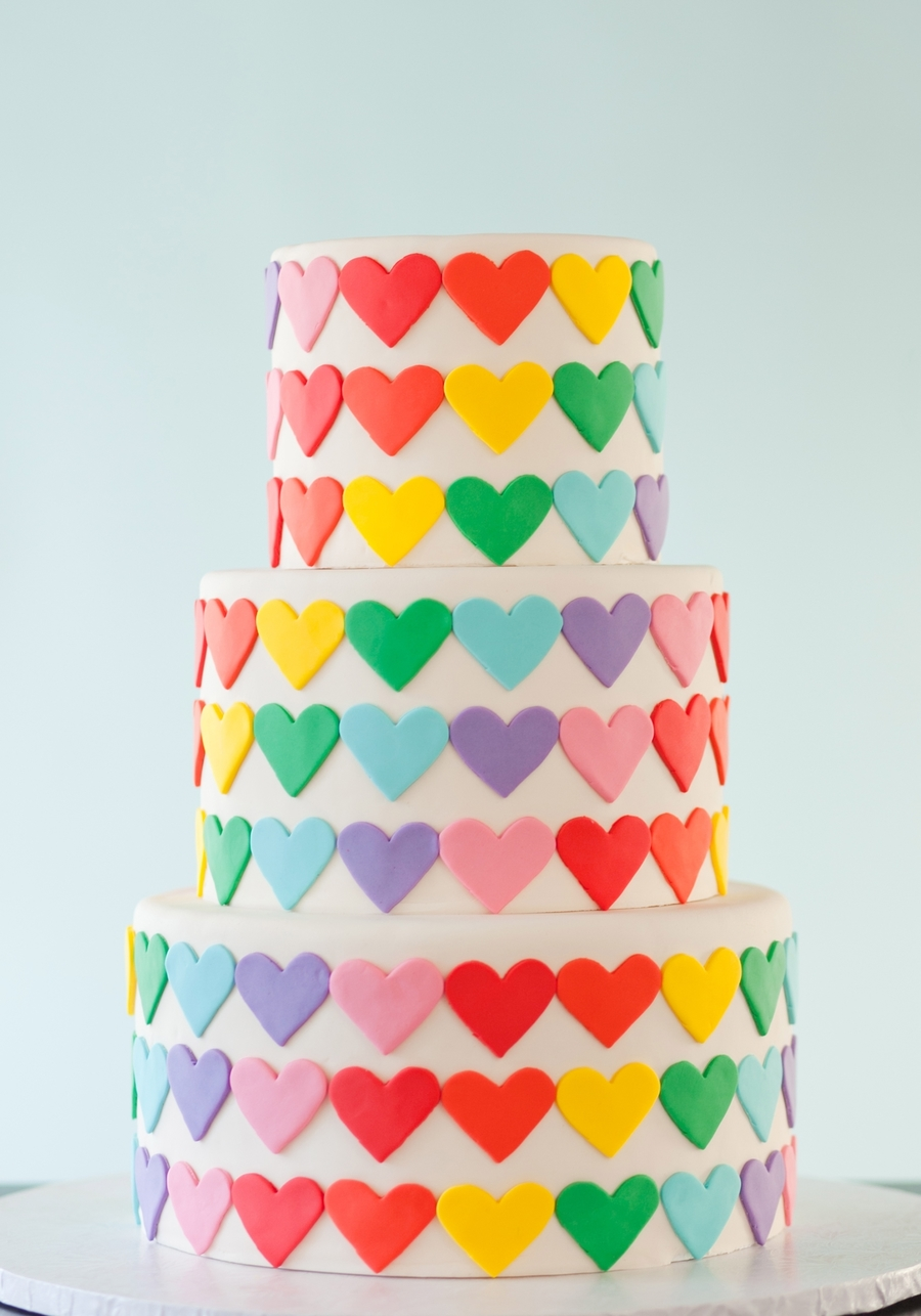 Rainbow Heart Wedding Cake on Cake Central