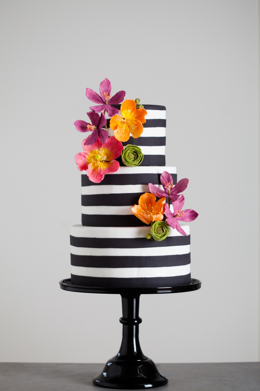 Black and white stripes with bright sugar flowers cakecentral black and white stripes with bright sugar flowers on cake central mightylinksfo