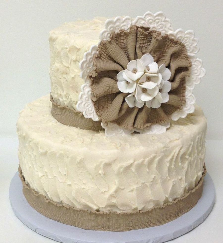 Burlap & Lace on Cake Central