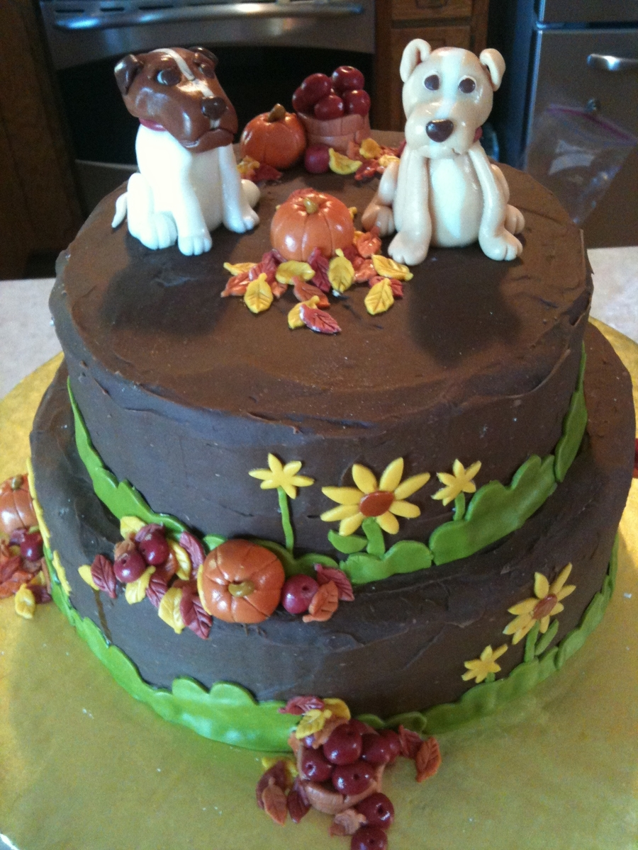 FallThemed Birthday Cake With Dogs 100 Vegan CakeCentralcom