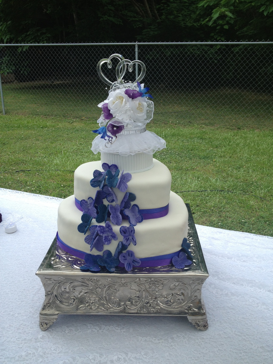 Heart Shaped Wedding Cake With Butterfly Accents CakeCentralcom