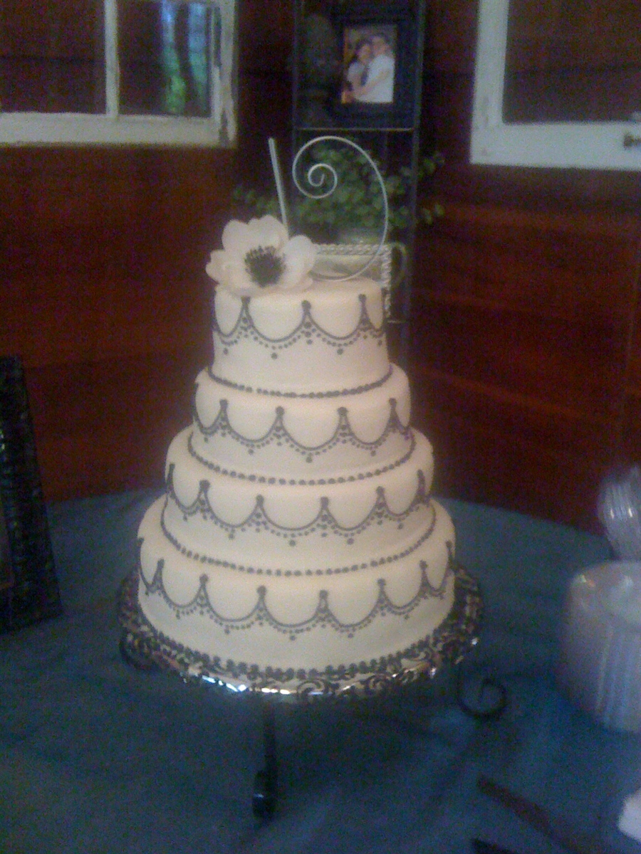 Round Wedding Cake Mmf With Black Buttercream Piping on Cake Central
