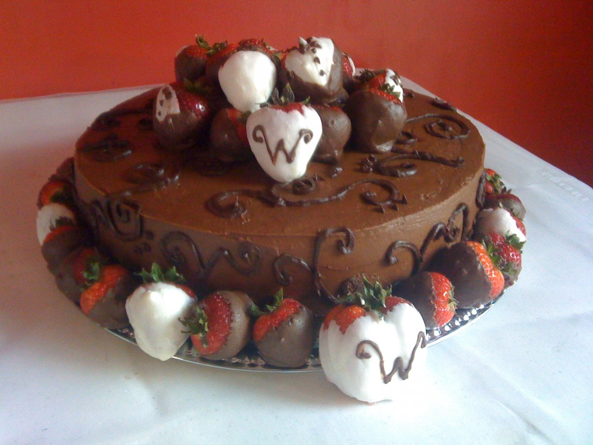 Chocolate Ganache Grooms Cake With White And Semi Sweet Chocolate Dipped Strawberries on Cake Central