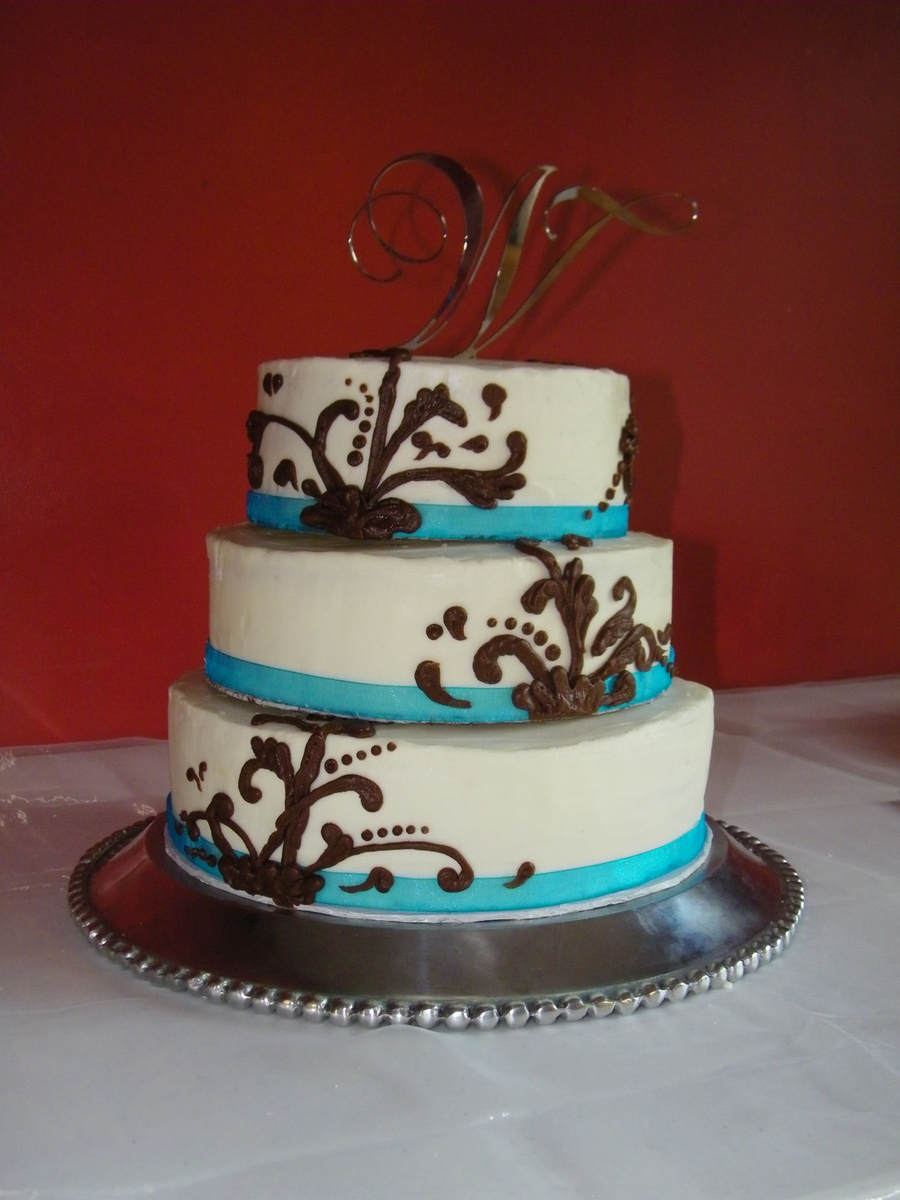 Buttercream Wedding Cake Chocolate Ganache Piping Blue