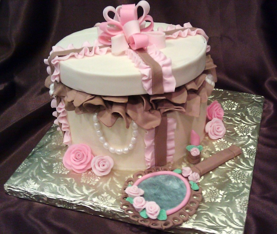 Pink And Brown Hatbox on Cake Central
