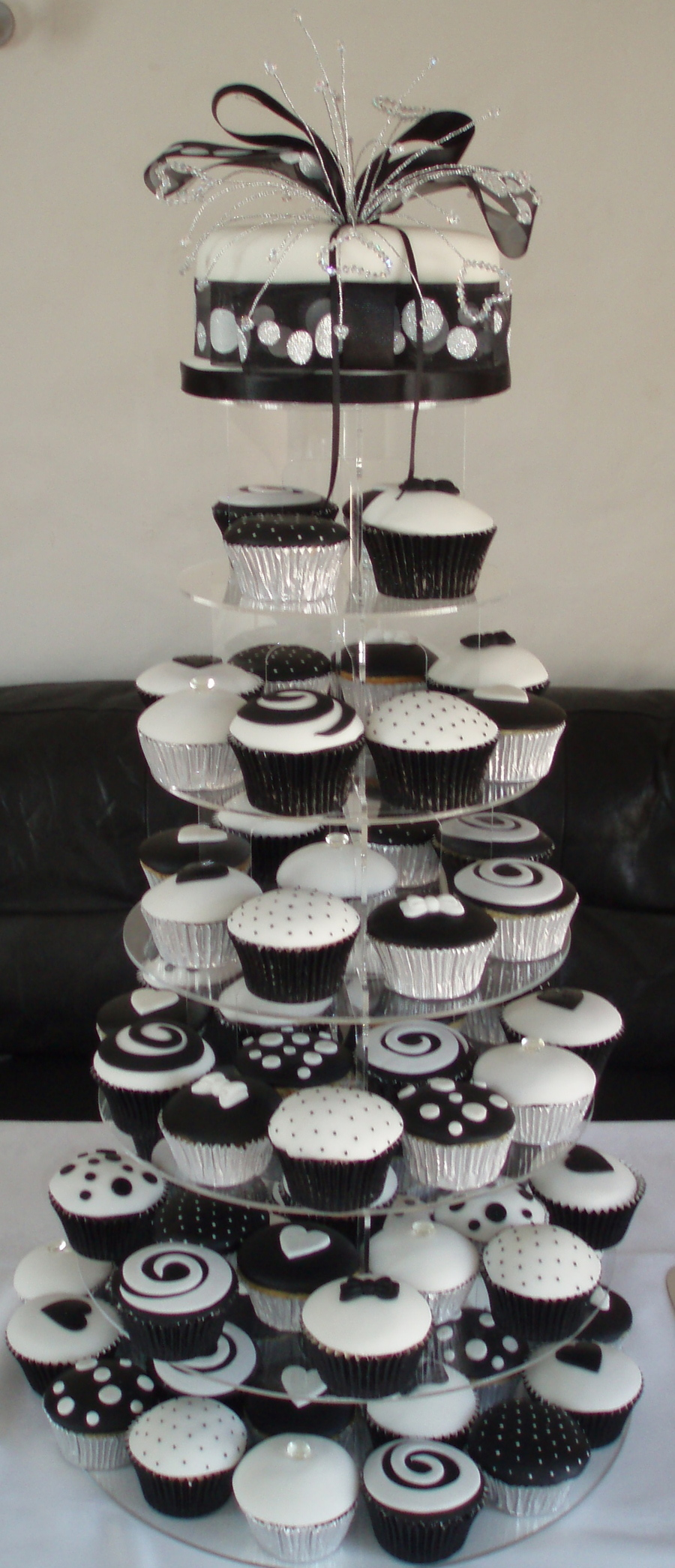 Black And White Wedding Cupcake Tower - CakeCentral.com